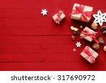 festive red christmas card... | Shutterstock . vector #317690972