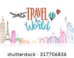 travel the world title concept...   Shutterstock .eps vector #317706836