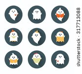halloween ghosts flat icons set | Shutterstock .eps vector #317713088