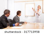 giving presentation young... | Shutterstock . vector #317713958