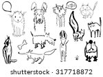sketch of a group of cats and... | Shutterstock . vector #317718872
