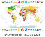 political world map with flat... | Shutterstock .eps vector #317731235