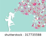 healthy woman silhouette pink... | Shutterstock .eps vector #317735588