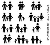 family silhouette icons set | Shutterstock .eps vector #317772626