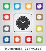 clock colored vector icon set...