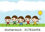 happy cartoon kids running... | Shutterstock . vector #317816456
