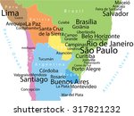 vector map of south america... | Shutterstock .eps vector #317821232
