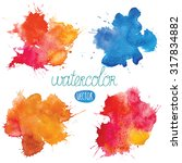 Watercolor Blots Set Of Vector