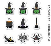 witch halloween vector icons set | Shutterstock .eps vector #317864726