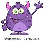funny cute monster cartoon... | Shutterstock .eps vector #317873816