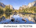 merced river in yosemite... | Shutterstock . vector #317923706