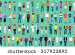 multiethnic casual people... | Shutterstock . vector #317923892