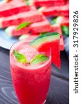 watermelon drink in glass with... | Shutterstock . vector #317929826