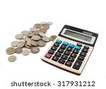 coins and calculator on white... | Shutterstock . vector #317931212