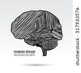 human brain sketch concept on... | Shutterstock .eps vector #317933576