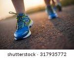 woman fitness  runner feet... | Shutterstock . vector #317935772