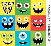 cartoon monster faces set....   Shutterstock .eps vector #317954012