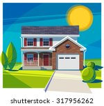 house fasade with garage.... | Shutterstock .eps vector #317956262