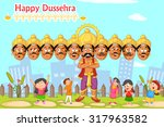ravana with ten head for... | Shutterstock .eps vector #317963582