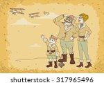 family aviator in retro style...