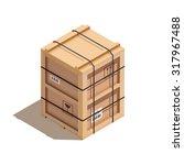 isometric wooden crate  vector... | Shutterstock .eps vector #317967488