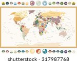 Political World Map With Flat...