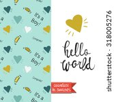 double sided vintage greeting... | Shutterstock .eps vector #318005276