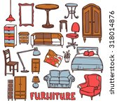 home furniture decorative icons ... | Shutterstock . vector #318014876