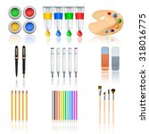 drawing and painting tools with ...   Shutterstock . vector #318016775