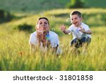 happy child and woman outdoor... | Shutterstock . vector #31801858