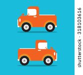 pickup truck car orange color... | Shutterstock .eps vector #318103616