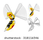 robot wasp cartoon character... | Shutterstock .eps vector #318116546