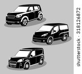 vector black and white cars... | Shutterstock .eps vector #318126872