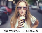 pretty girl with milk shake... | Shutterstock . vector #318158765