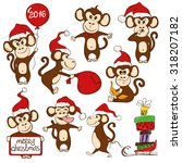 christmas set of isolated funny ... | Shutterstock .eps vector #318207182