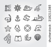 Marine icon, logo, logotype - dolphin, lighthouse, seagull, bird, boat, ship, fishing,  fish, anchor, starfish, swimsuit, shorts, fins, steering wheel, lifebuoy, watermelon, cocktails, shell