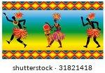 three black african dancer men. ... | Shutterstock .eps vector #31821418