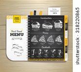 vintage chalk drawing fast food ... | Shutterstock .eps vector #318220865