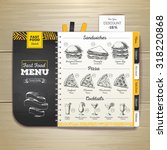 vintage chalk drawing fast food ... | Shutterstock .eps vector #318220868