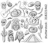 hand drawn vector set of... | Shutterstock .eps vector #318221462