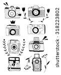 retro photo camera set in... | Shutterstock .eps vector #318223802