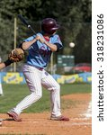 Small photo of ZAGREB, CROATIA - SEPTEMBER 6, 2015: Baseball match Baseball Club Zagreb and Baseball Club Nada. Baseball batter waiting to hit the ball