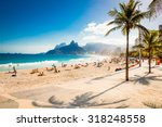 Stock photo palms and two brothers mountain on ipanema beach in rio de janeiro brazil 318248558