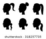 set of black silhouette girl... | Shutterstock .eps vector #318257735