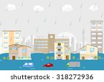 flooded city | Shutterstock .eps vector #318272936