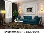 interior with blue sofa. 3d... | Shutterstock . vector #318301046