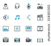 multimedia icons   Shutterstock .eps vector #318301502