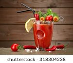 Cocktail Bloody Mary On Wood