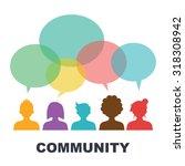 social community  vector flat... | Shutterstock .eps vector #318308942