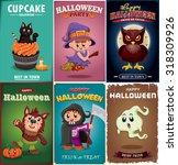 vintage halloween poster design ... | Shutterstock .eps vector #318309926